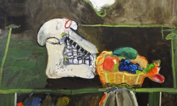Anton-Martineau-œuvre-galerie-duchoze-Table-with-skull-and-fruit-basket